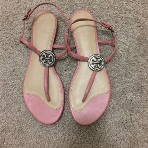 New Tory Burch Liana Crystal TStrap Sandals sz 7.5